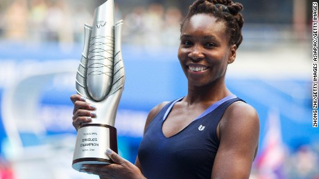 Venus Williams won the Wuhan title Saturday when opponent Garbine Muguruza retired in the final.