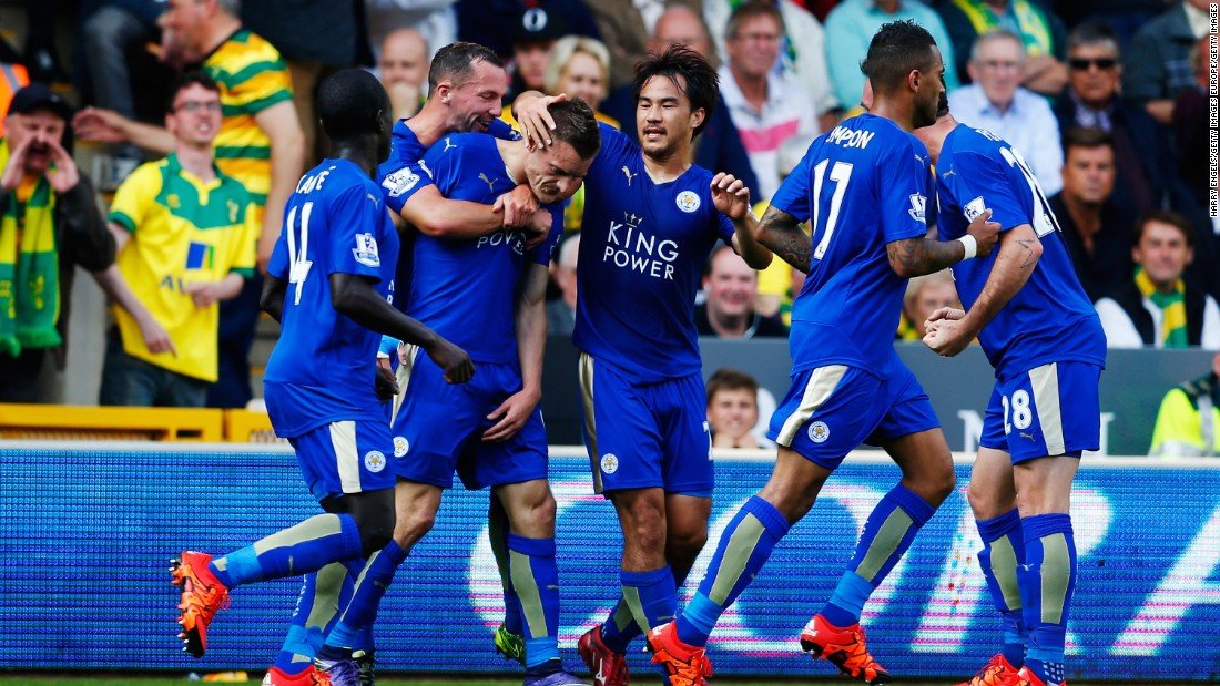 Leicester rose to fourth, with Jamie Vardy, third from left, scoring a penalty in the Foxes' 2-1 win over Norwich.