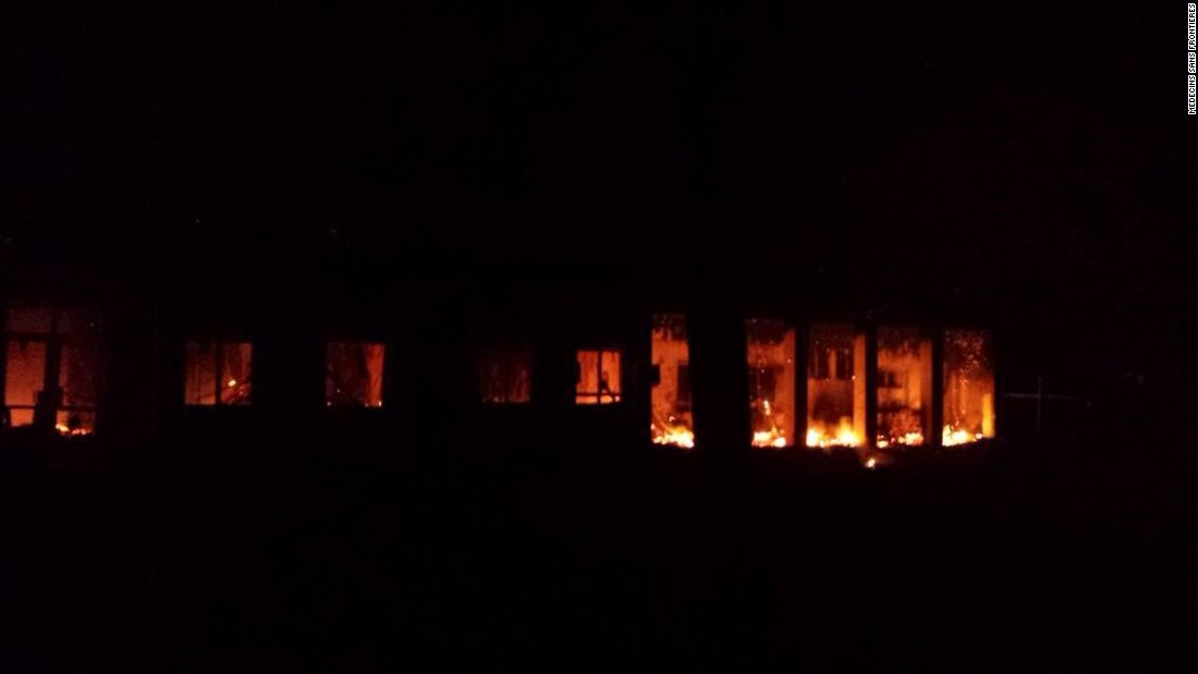 Flames are visible inside a Doctors Without Borders hospital in Kunduz, Afghanistan, after a U.S. airstrike on Saturday, October 3. At least 30 people died in the attack, the charity said in its internal review of the strike released Thursday, November 5. The commander of U.S. forces in Afghanistan has said the hospital was hit accidentally.