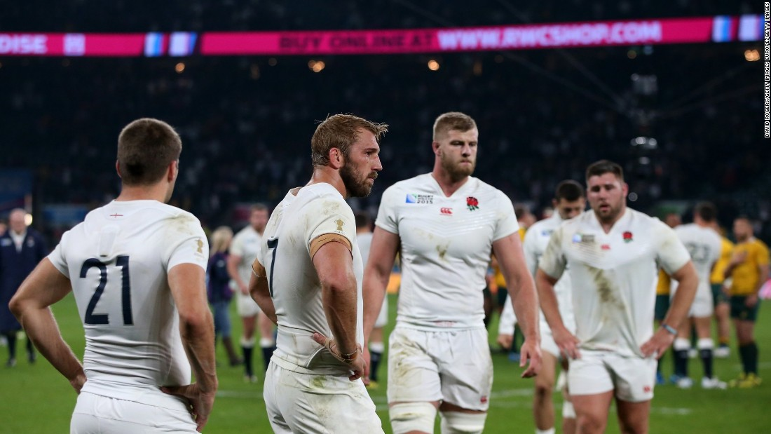 It left the Three Lions stunned, including captain Chris Robshaw, second from left.