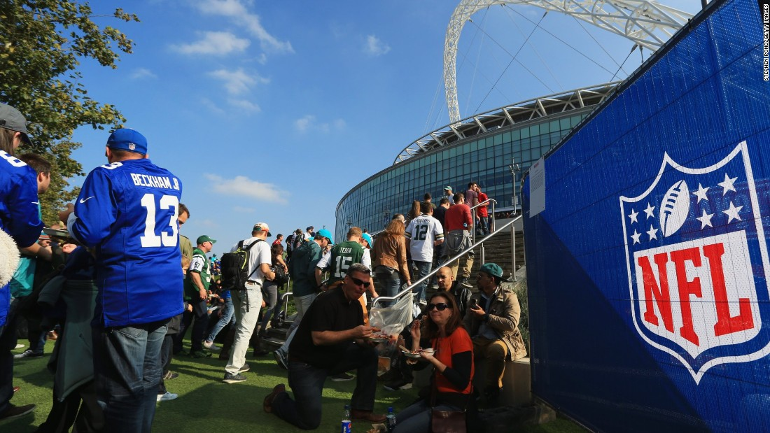 The famous Wembley Stadium in London was dressed up as an NFL venue for the game between the Jets and the Dolphins.
