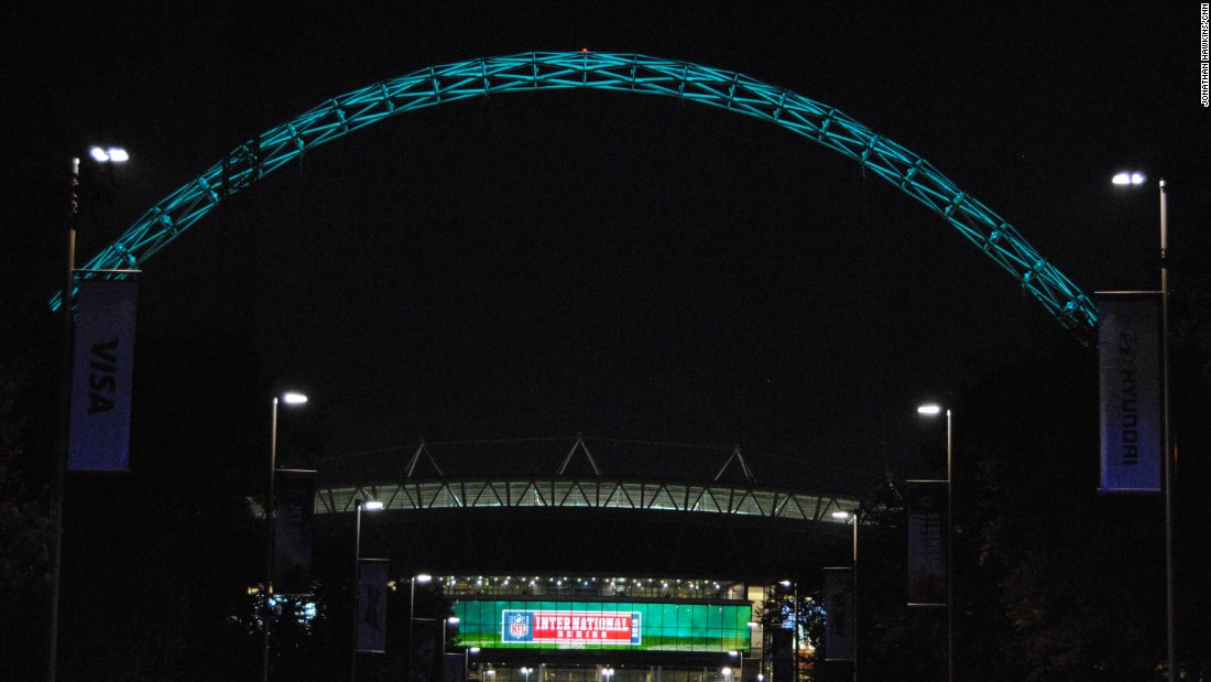 The famous Wembley arch is lit up in Jets green after the NFL International Series game.