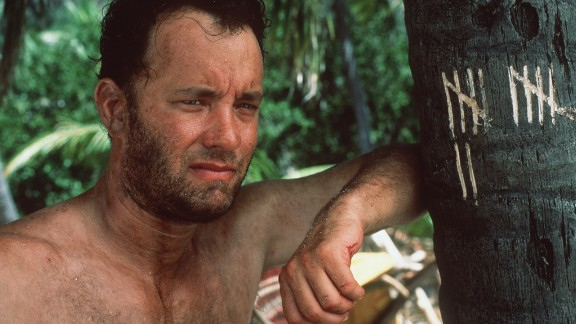 "Tom Hanks was stranded on a tropical island after a plane crash in 2000's ""Cast Away."" He spent most of the movie talking to a volleyball he named Wilson."