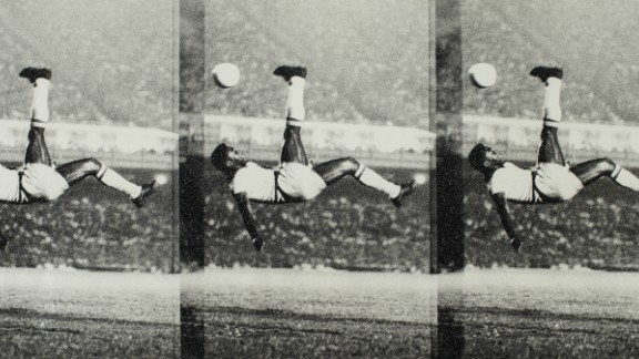 """""""What we are showing here is the good side of the athlete, the positive side of the athlete that can serve as an inspiration for youngsters, children,"""" Pele said. This Russell Young piece underlines the athleticism and dynamism that Pele possessed."""
