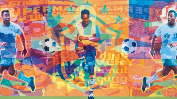 """Stuart McAlpine Miller's Pele Triptych captures the color and passion Pele played with throughout his 21-year career. Asked how he thinks the game has changed, the Brazilian told CNN: """"In the past, it was a profession filled with love, now it's just a profession."""""""