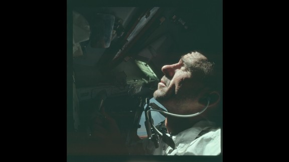 Astronaut Walter Cunningham aboard Apollo 7 in October 1968. Apollo 7 was the first manned Apollo flight.