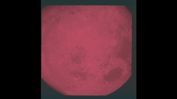 The moon, as seen from Apollo 8 in December 1968. Apollo 8 orbited the moon and broadcast television images back to Earth. NASA used red and blue filters for the TV feed.