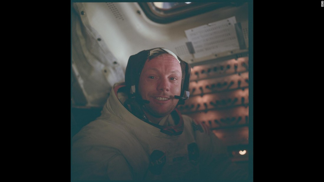 Apollo 11 commander Neil Armstrong is photographed inside the lunar module after he and Buzz Aldrin walked on the moon's surface on July 20, 1969.