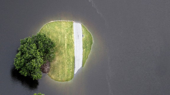 This aerial photo shows flooding around Aberdeen Country Club in Longs, South Carolina, on Tuesday, October 6. South Carolina experienced record rainfall amounts over the weekend, forcing hundreds of evacuations and rescues.
