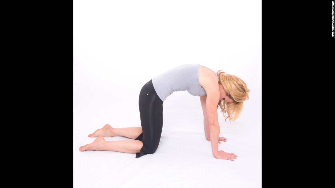 This position works on rib cage retraction while breathing to release overused chest muscles.