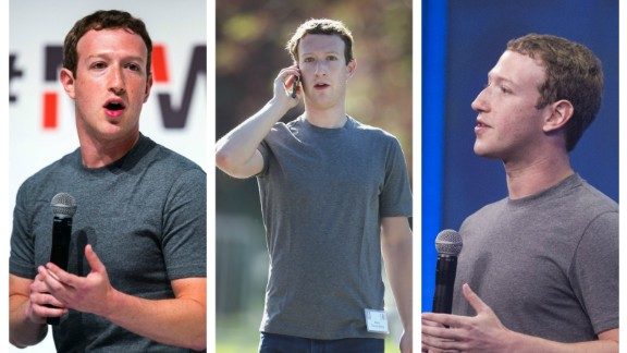 """Mark Zuckerberg sports a signature gray T-shirt. He told the audience of a public Q&A in 2014: """"I really want to clear my life to make it so that I have to make as few decisions as possible about anything except how to best serve the community."""""""