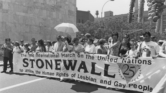 Marchers commemorate the 25th anniversary of the Stonewall Riots in New York on June 26,1994.