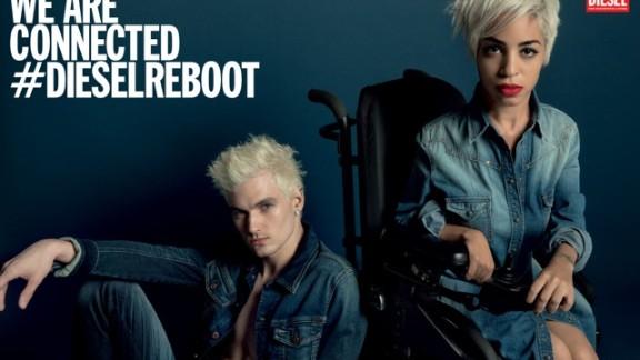 Positioning Jillian Mercado in her wheelchair alongside fellow model James Astronaut for Diesel