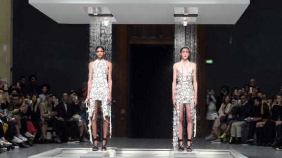In one of the most objectively cool moments of the month, Hussein Chalayan showed garments that melted into completely different dresses under a stream of water.