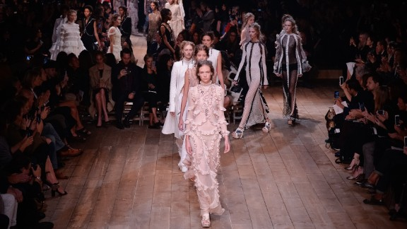 At Alexander McQueen, Sarah Burton dipped into Britain's past for inspiration. This time: the persecuted Huguenots, who fled to London in the 17th century and became known for their talents as silk-weavers.