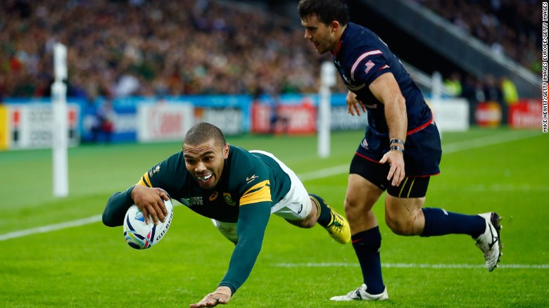 Bryan Habana Crosses For His Third Try In South Africa 39 S 64