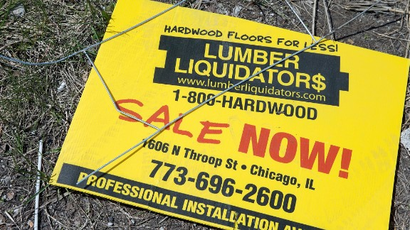 CHICAGO, IL - APRIL 29: A sign advertising a sale sits outside a Lumber Liquidators store on April 29, 2015 in Chicago, Illinois. The U.S. Department of Justice is reported to be seeking criminal charges against Lumber Liquidators following an investigation over imported products. The television news program ''60 Minutes'' recently reported that the company's Chinese-made laminate flooring products had unsafe levels of formaldehyde, a known carcinogen. (Photo by Scott Olson/Getty Images)