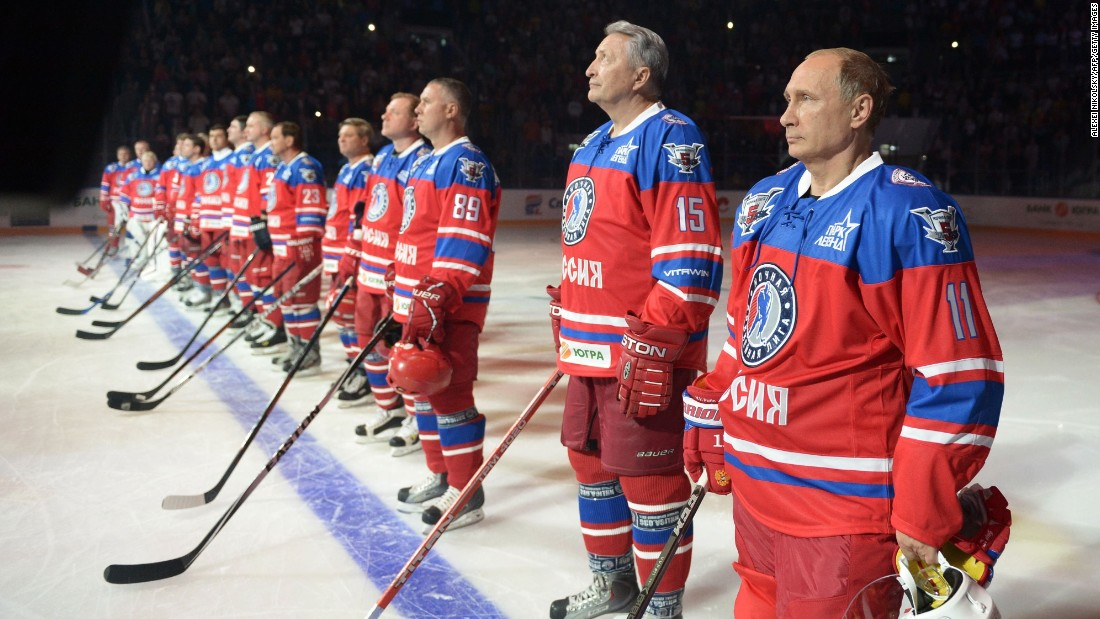 While his nation waded deeper into the Syrian civil war, Russian President Vladimir Putin, right, spent his 63rd birthday on the ice Wednesday, October 7, playing hockey with NHL stars and various Russian officials and tycoons in Sochi.  For years, Russia's leader has cultivated a populist image in the Russian media.