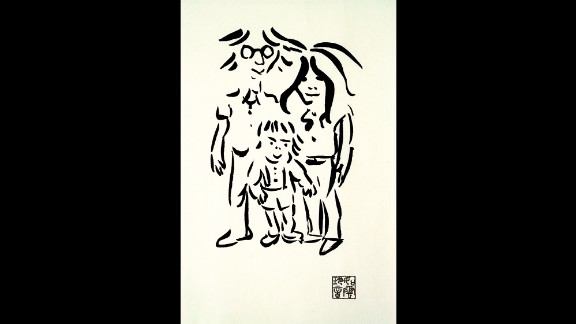 """Though he will always remain best known as a musician, John Lennon never tried to hide his fondness for the visual arts. He'd attended art college in Liverpool, after all, and he made sketches and caricatures at every opportunity. This 1977 work, """"Imagine Peace,"""" captures him as a  contented family man with wife Yoko Ono and son Sean."""