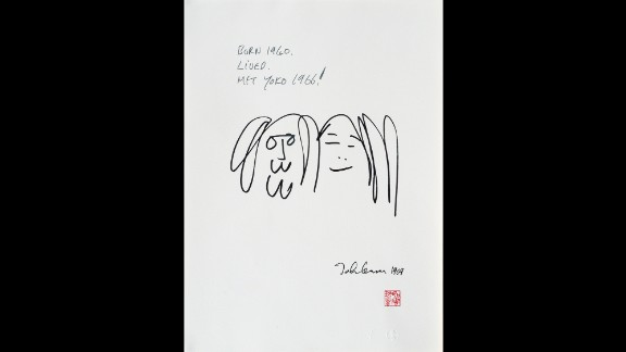 """<a href=""""http://www.beatlesbible.com/1966/11/07/john-lennon-meets-yoko-ono/"""" target=""""_blank"""" target=""""_blank"""">John met Yoko in November 1966</a> at the Indica, a London gallery where Ono was exhibiting her work. Lennon was particularly impressed by a piece in which the visitor climbed a ladder and looked through a magnifying glass at a painting. On it was a word in tiny letters: """"Yes."""" """"So it was positive. I felt relieved,"""" Lennon recalled later."""