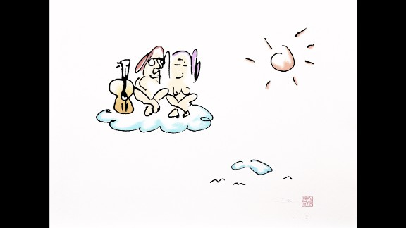 """This work, called """"On Cloud 9,"""" shows John and Yoko in the sky. Naturally, he hasn't forgotten his trusty guitar."""