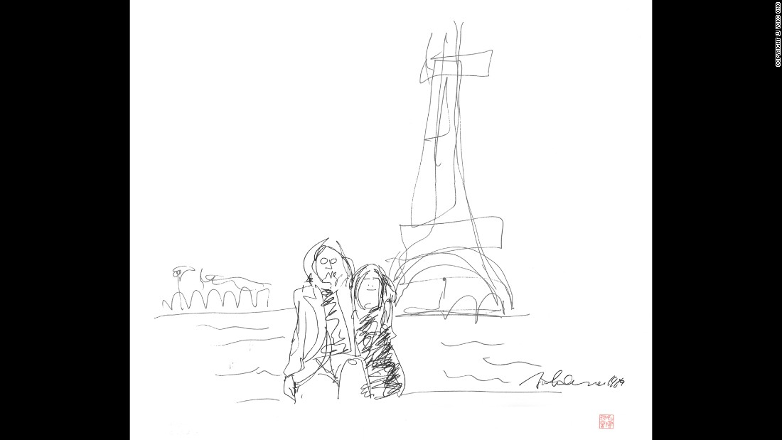 During Lennon and Ono's 1969 honeymoon, the couple visited Amsterdam, Vienna and Paris, where this sketch was done.