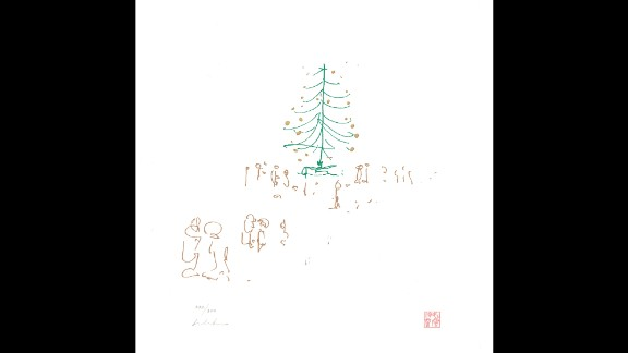 """Lennon's song """"Happy Xmas (War Is Over)"""" has been a holiday staple since 1971. The song's peace-loving message is as timeless as this sketch of a tree surrounded by visitors: """"War is over if you want it."""""""