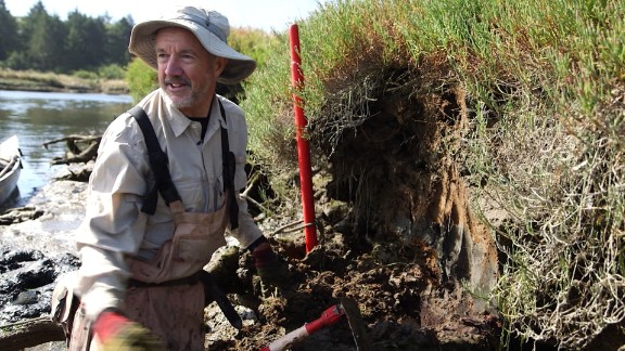 USGS geologist Brian Atwater shows a legacy from when the Cascadia ruptured in 1700: It created a tsunami whose impact is marked today by a layer of sand atop what was the forest floor, on a bank near Copalis Beach, Washington.