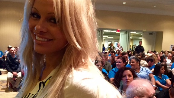 Actress Pamela Anderson was attending with PETA.