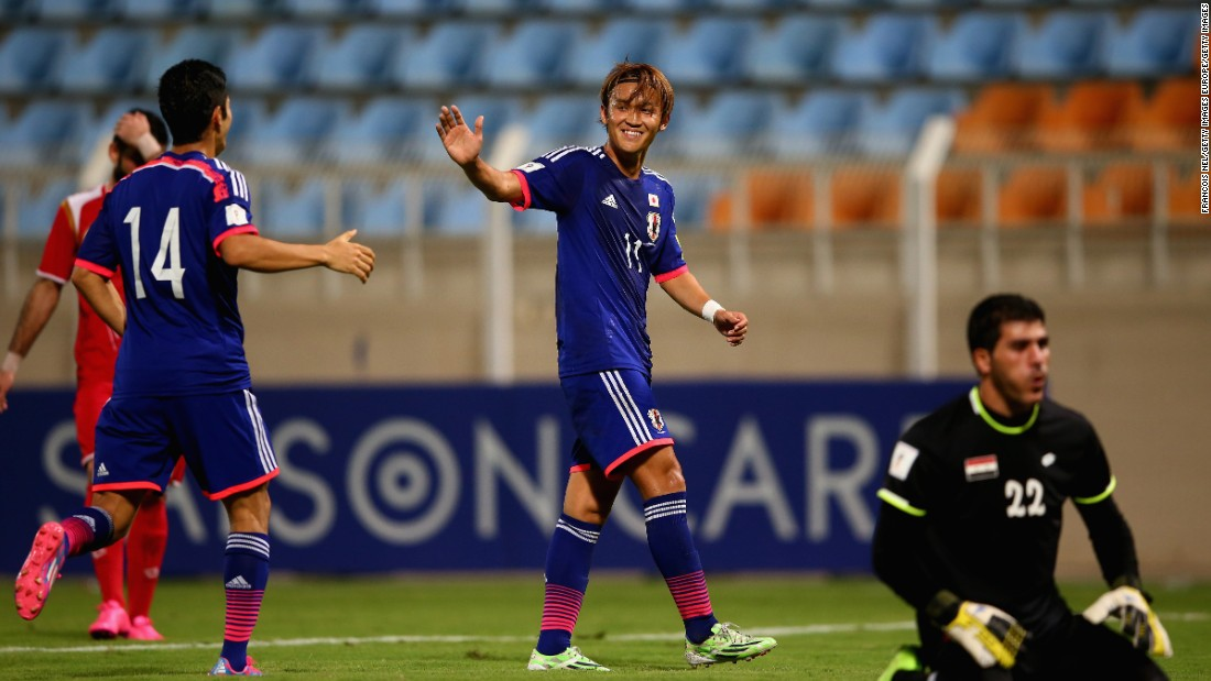 Takashi Usami celebrates scoring Japan's third goal of the game. Japan are one of the most successful nations in the Asian region -- winning the continental championship four times and appearing in the last five World Cups.