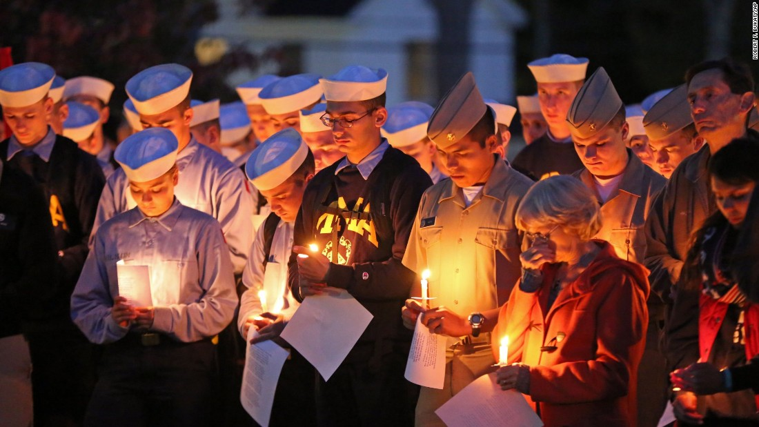 "Maine Maritime Academy students bow their heads during a vigil of hope for the missing crew members of the U.S. <a href=""http://www.cnn.com/2015/10/08/us/el-faro-missing-ship/?iid=ob_article_topstories_pool&iref=obinsite"" target=""_blank"">cargo ship El Faro</a> on Tuesday, October 6, in Castine, Maine. A U.S. Navy salvage unit will join the search for the wreckage of El Faro, which disappeared during Hurricane Joaquin near the Bahamas."