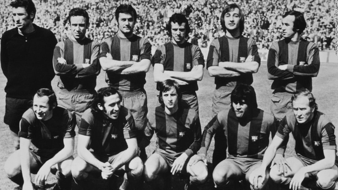 Cruyff (picture center front row) then joined Barcelona from Ajax. The Dutchman went on to coach the Catalan club and is widely credited with helping instil the importance of youth development at Barcelona.
