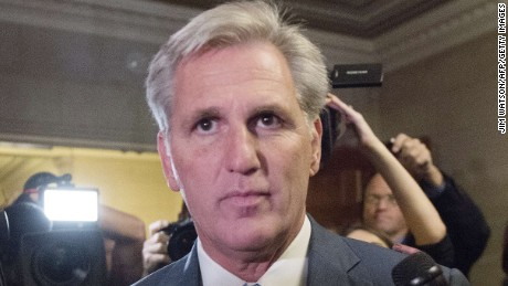 House Majority Leader Kevin McCarthy, R-California, walks out of the speaker nominee election after dropping out of the race on Capitol Hill in Washington, DC, October 8, 2015.