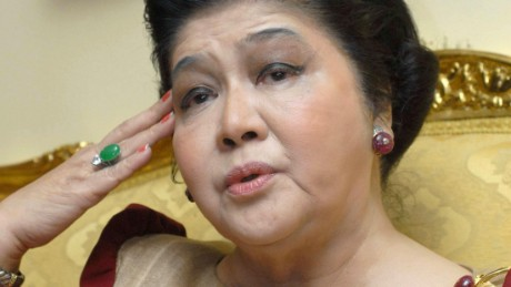 Former first lady Imelda Marcos talks at her apartment in Manila, 27 June 2007. Imelda Marcos says she has nothing to be ashamed of, 08 October 2007. For 20 years as first lady of the Philippines she lived a fairytale existence only to see it all disappear in a whirlwind of public outrage over the greed and excesses of the Marcos years. Through it all Imelda rode the storm. AFP PHOTO/ROMEO GACAD (Photo credit should read ROMEO GACAD/AFP/Getty Images)