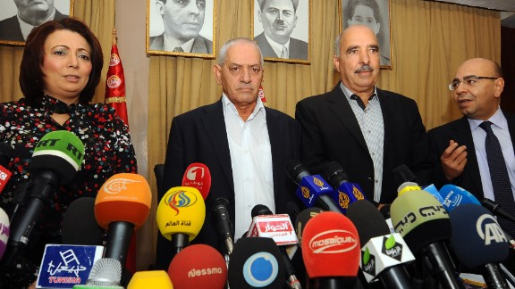 Tunisian mediators arrive to give a press conference to announce the result of its latest bid to mediate an end to the crisis on September 21, 2013 in Tunis. (LtoR) The President of the Tunisian employers union (UTICA), Wided Bouchamaoui, Secretary General of the Tunisian General Labour Union (UGTT) Houcine Abbassi (L) , President of the Tunisian Human Rights League (LTDH), Abdessattar ben Moussa and the president of the National Bar Association, Mohamed Fadhel Mahfoudh. Tunisia