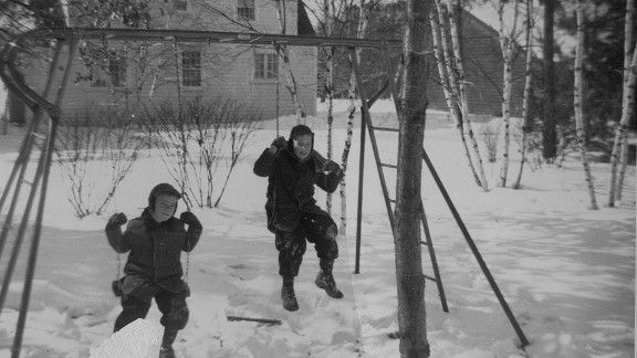 Sandy Halperin's older brothers, Joe and Mark, playing in the snow.