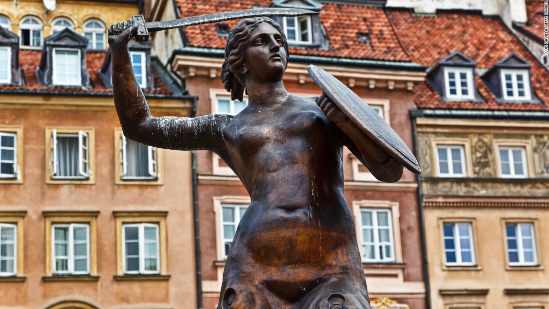 "A statue of the <a href=""http://www.warsawtour.pl/en/tourist-attractions/mermaid-statue-pomnik-syrenki-2053.html"" target=""_blank"">Mermaid of Warsaw,</a> otherwise known as Syrenka, sits in the city's Old Town. Syrenka has long been a symbol of the city, though originally appeared on the coat of arms as a male figure with the tail of a dragon. <br /><br />Designed by Konstanty Hegel in 1855, the original Syrenka statue has since been replaced with sturdier copy after a spate of vandalism. According to one legend, Syrenka is the Little Mermaid's sister and they become separated in the Baltic Sea."