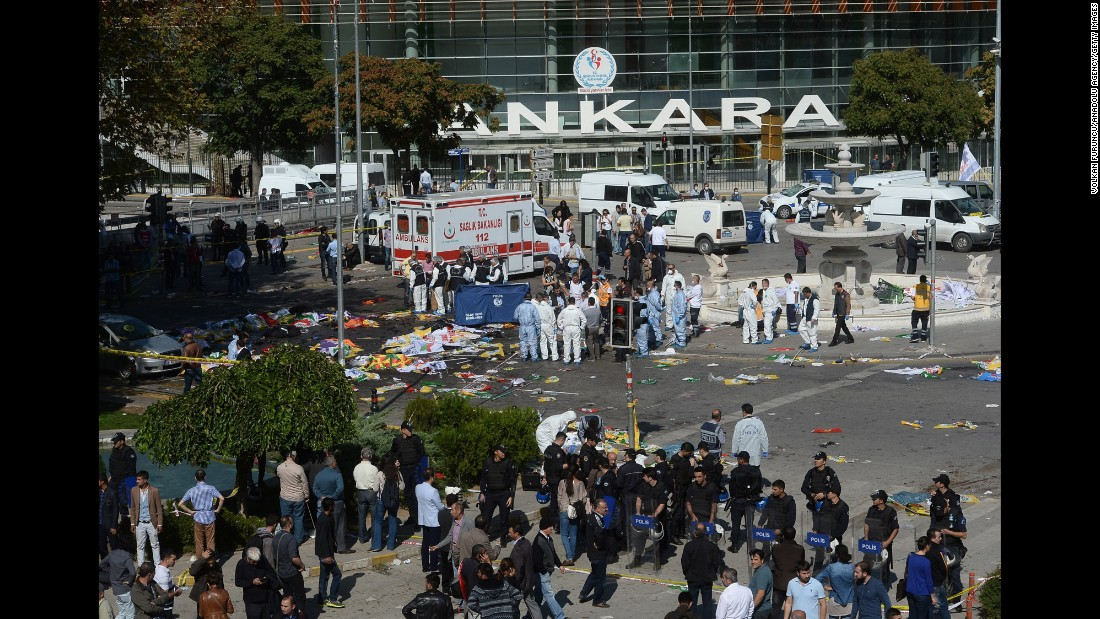 Turkish officials inspect the site of the explosion.