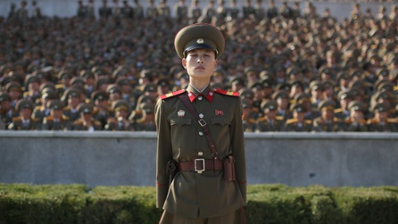 A soldier stands at attention in Pyongyang, North Korea, Saturday, October 10, during a military parade marking the 70th anniversary of the North Korea