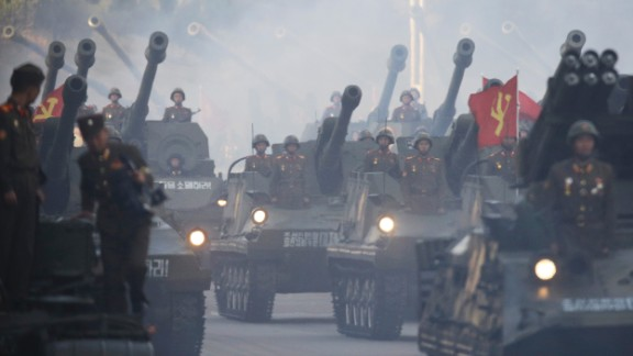 North Korean tanks roll down the streets of Pyongyang.