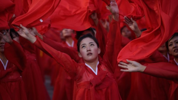 North Korean dancers perform during the parade at Kim Il Sung Square.