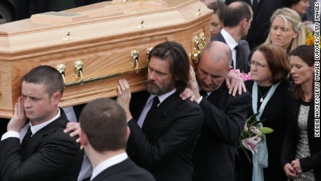 Jim Carrey attends the funeral of Cathriona White on Saturday in Cappawhite, Tipperary, Ireland.