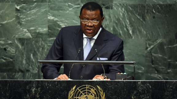 Hage Geingob, 77, is the third president of Namibia.  After serving as Prime Minister of the country for 12 years he became President in March 2015.