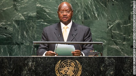 Ugandan President Yoweri Museveni speaks at the 69th United Nations General Assembly at United Nations Headquarters on September 24, 2014 in New York City.