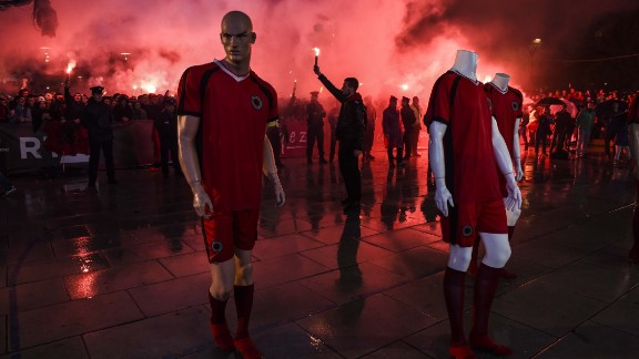 There were wild celebrations in the state of Kosovo after Albania secured a spot at a major football tournament for the first time. Albania endured a rollercoaster route to Euro 2016 -- including two politically-charged games against rival Serbia. One had to be abandoned because a drone was flown over Belgrade's Partizan Stadium, causing a brawl among the players and a pitch invasion.