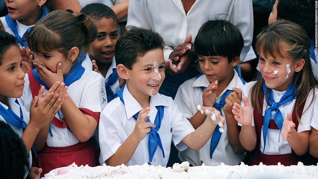 Elian celebrates his seventh birthday with classmates in Cardenas, Cuba. The guest of honor was Fidel Castro (unseen). Despite the promises he would return to his old life, Elian never stayed out of the public spotlight too long.