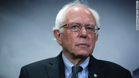 Sen. Bernie Sanders (I-VT) listens during a news conference about private prisons September 17, 2015 on Capitol Hill in Washington, DC. Sanders was joined by Rep. Keith Ellison (D-MN) to announce that they will introduce bills to ban private prisons.