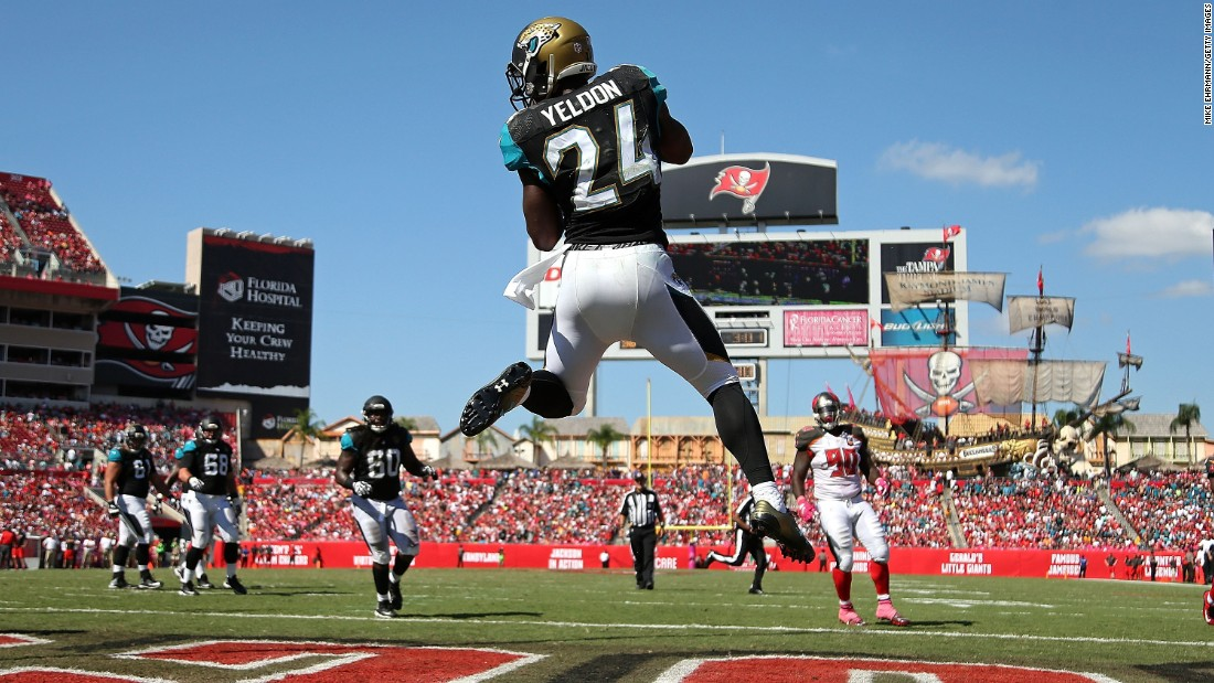Jacksonville running back T.J. Yeldon catches a touchdown pass during an NFL game in Tampa, Florida, on Sunday, October 11. It was the rookie's first career touchdown.