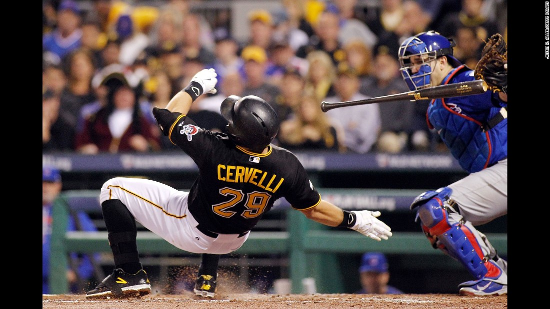 Pittsburgh's Francisco Cervelli is hit by a pitch during the National League wild card game on Wednesday, October 7. The Pirates were shut out 4-0 by the Chicago Cubs.