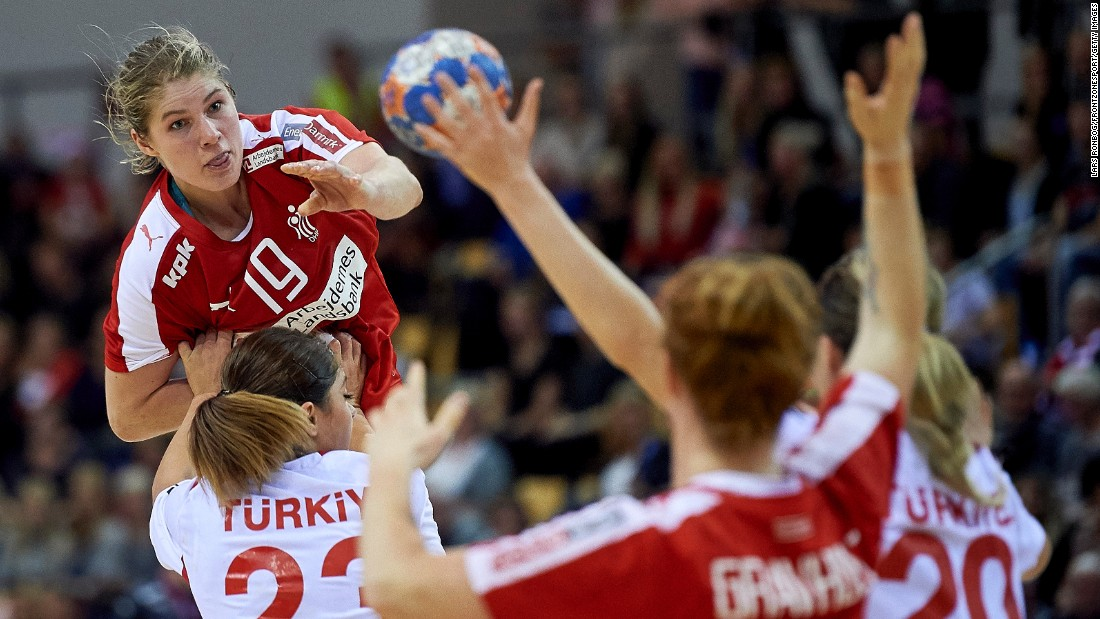 Danish handball player Line Jorgensen leaps in the air during a Euro 2016 qualifying match against Turkey on Thursday, October 8.